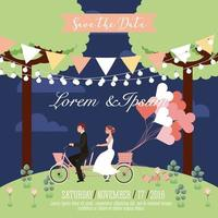 Wedding couple riding in tandem bike save the date card