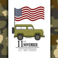 united states flag and military car vector