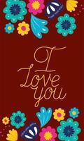 I love you floral card vector