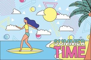 Cartel retro brillante horario de verano