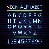 Neon alphabet and numbers  vector