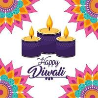 diwali candles lits with mandalas flowers