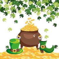 gold coins inside cauldron with st patrick hat and boot