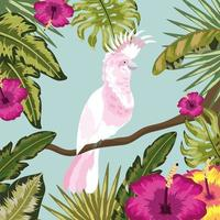 cockatoo with flowers and leaves plants background