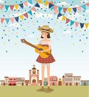 kvinnlig bonde som spelar gitarr med kransar och stadsbilden