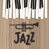 jazz poster with piano keyboard and trumpet