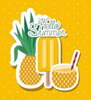 Hello summer vacation stickers design