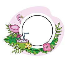 circle emblem with flamingo and coconut with flowers