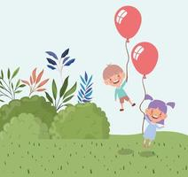 happy little kids with balloons helium in the field