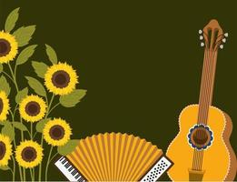 sunflowers with music instruments scene vector