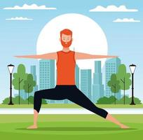 Man doet yoga in park