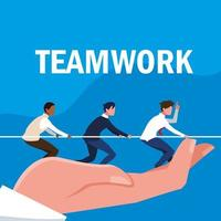 teamwork with business men elegant and pull rope in hand vector