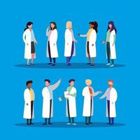 group of doctors avatar character vector