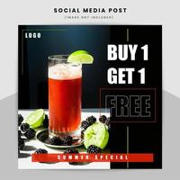 Food and drink promotional web banner design template