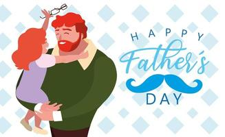 happy father day card with dad and daughter