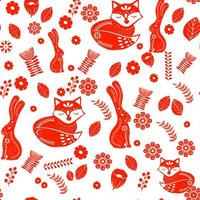 Scandinavian folk art pattern with bunnies, fox and flowers  vector