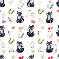 Scandinavian folk art pattern with chickens and foxes