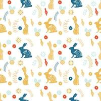 Scandinavian folk art pattern with bunnies and flowers  vector