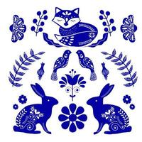 Scandinavian folk art pattern with bunnies, fox and flowers