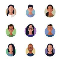 Diverse peoples faces cartoon