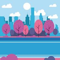 Cenário do parque da cidade, desenhos animados da paisagem urbana