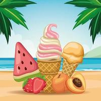 Ice cream and popsicle in sand on beach