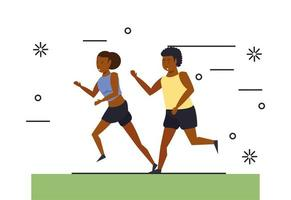 African american couple running  vector