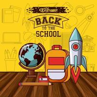 Back to school message with rocket and globe