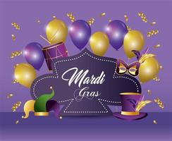 mardi gras event with balloons and decorations