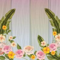 Flowers and leaves on wooden background