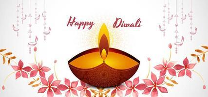 Tarjeta de festival floral acuarela feliz diwali