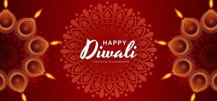 Fondo hermoso de la celebración de la tarjeta de Diwali Diya feliz