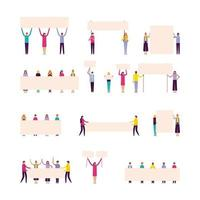 people holding banners vector