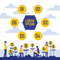 growth coins profit infographic vector