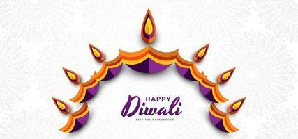 Diseño decorativo creativo feliz diwali diya colorido