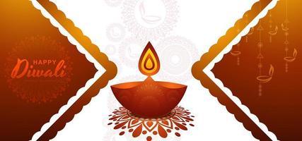 Elegante plantilla de diseño de tarjeta de festival de diwali con diya ardiente