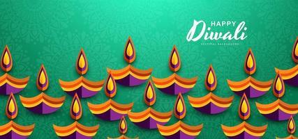 Hermosa tarjeta de felicitación para el festival hindú de la comunidad de fondo Diwali