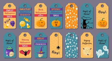 Set of cartoon halloween tags