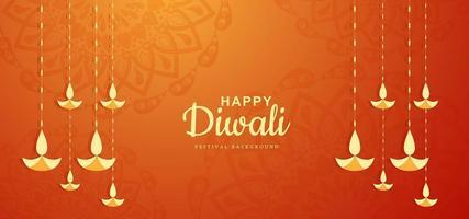 Ilustración de fondo de festival de tarjeta de diwali diya colgante