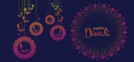 Hermosa feliz Diwali tarjeta celebración fondo ilustración
