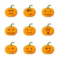 Cartoon halloween pumpkin emotion set vector
