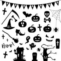 Halloween silhouette icon set.