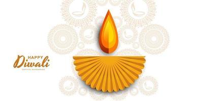 Hermoso papel cortado diwali diya brillante fondo