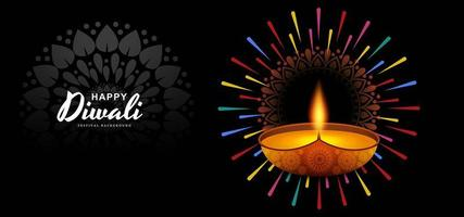 Hermosa feliz Diwali diya tarjeta celebración fondo ilustración