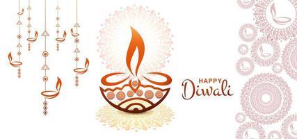 Ilustración de vector artístico diwali tarjeta de felicitación festival