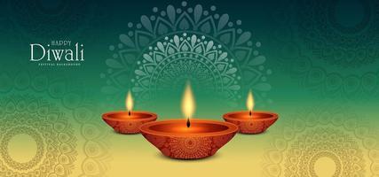 Fundo verde do festival de Diwali redondo ornamento floral