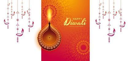 Fundo de diwali colorido iluminado criativo lâmpada acesa