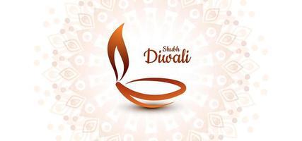 Una hermosa tarjeta con arte lineal decorado diwali diya fondo