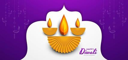 Happy diwali wishes greeting card design with paper cut diya background vector