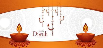 Fondo lucido di festa di Diwali con la lampada di diya e il rangoli